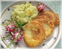 Cuketové kroužky v těstíčku Mashed Potatoes, Cauliflower, Chicken, Meat, Vegetables, Ethnic Recipes, Food, Whipped Potatoes, Smash Potatoes