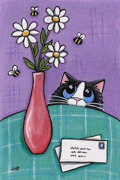 Cat watching Bees by Lisa Marie Robinson♥♥