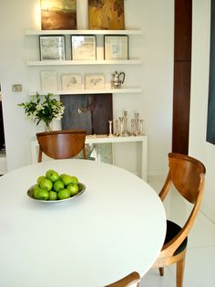 cute wall display as alternative to a buffet table for small spaces