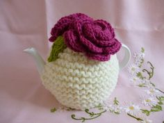 Chunky Rose Knit Tea Cosy by MarmaladeRose on Etsy, £19.50