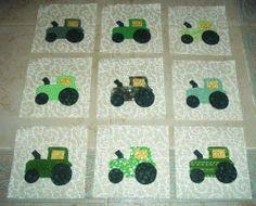 Set of 12  Green  Farm Tractor  Quilt Top Blocks