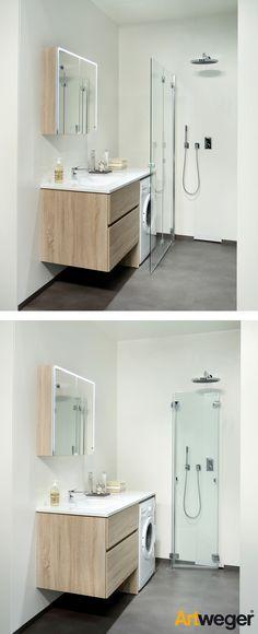 Die wegklappbare Walk In ermöglicht den Traum vom offenen Duschplatz im kleinen Bad!  http://www.artweger.at/de/equipment/duschen_33/artweger360falttuer_8914