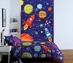 OUTER SPACE ROCKET TWO PIECE WALL MURAL