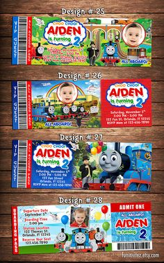 Thomas the Tank and Friends Birthday Party Photo Ticket Invitations Train Two Two - Printable