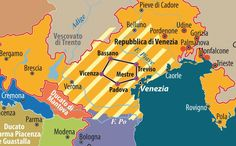Dettaglio Veneto Italy Map, Trieste, Barbarian, World History, Travel, Google Search, Big, Maps, Geography