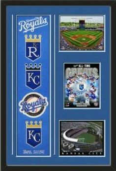 MLB Kansas City Royals Banner With Logos-Kauffman Stadium 2012 Photo- Kansas City Royals all time Greats composite photo & Kauffman Stadium Photo Framed With Team Color Double Matting In Quality Black Frame-Awesome & Beautiful