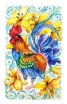 Year of the Rooster- Anna Bucciarelli Rooster Painting, Rooster Art, Copic Drawings, Art Drawings, Watercolor Animals, Watercolor Art, Rooster Tattoo, Chicken Pictures, Batik Art