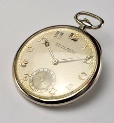 Patek Philippe White Gold Jaquet Pocket Watch  18k white gold, 1950s