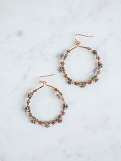 Barcelona Beaded Hoop Earrings- Rose gold and gray beaded hoop earrings. Earring - Barcelona Beaded Hoop Earrings- Rose gold and gray beaded hoop earrings. Rose Gold Earrings, Silver Hoop Earrings, Bridal Earrings, Crystal Earrings, Crystal Jewelry, Beaded Earrings, Wedding Jewelry, Stud Earrings, Diamond Earrings