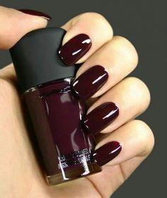 Deep red nail polish