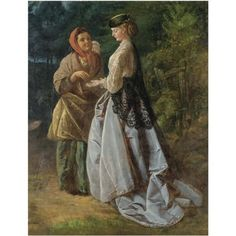 Janet and the strolling fortune teller  by John Scott Cavell (born 1820)