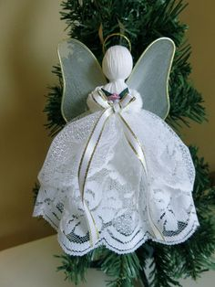 CRAFTS HANDMADE WHITE LACE ANGEL 7 IN. XMAS VICTORIAN CHRISTIAN DECOR Metal Wing #Unbranded