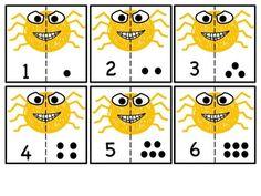FREEBIE:  Spider cut & match numbers 1-10