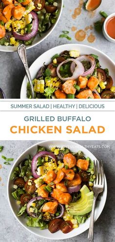 Grilled Buffalo Chicken Salad an easy 30 minute recipe smothered in buffalo sauce and filled with grilled vegetables for one delicious bite! Summer salads never tasted so good! #summersaladrecipes Healthy Lunches For Work, Healthy Eating Recipes, Healthy Salads, Healthy Eats, Summer Salads With Fruit, Summer Salad Recipes, Chicken Salad Recipes, Grilled Buffalo Chicken, Grilled Vegetables