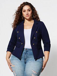 Clara Military Blazer - Fashion To Figure Curvy Women Fashion, Look Fashion, Womens Fashion, Fashion Fashion, Curvy Girl Outfits, Plus Size Outfits, Plus Size Girls, Plus Size Women, Blazer Fashion