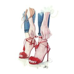 Drawing by Anna Pino discovered by memi on We Heart It Fashion Illustration Shoes, Beauty Illustration, Ink Illustrations, Fashion Terminology, Tableau Design, Romantic Paintings, Girl Reading, Digital Art Girl, Shoe Art