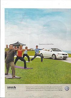 **PRINT AD** For 2007 Volkswagen Convertible Eos & Sirius Radio Yoga Scene