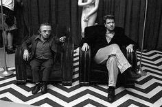 The Man From Another Place (Michael J. Anderson, that is) with The Man From Spokane (David Lynch) in the Red Room. Photo by Richard Beymer