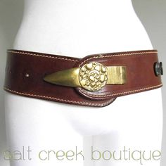stunning, italian designer, anthropologie, modernist, extra wide, stitched brown full grain thick leather, huge solid brass buckle, artisan, boho, hippie, style with dark metal stud like conchos, so unique & beautiful! available now at salt creek boutique on eBay!