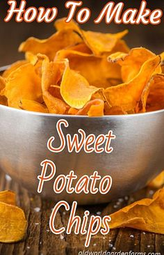 There is nothing quite like the taste of Sweet Potato Chips This delicious recipe is sure to please  and its even made without oil Oven Potato Chips, Potatoes In Oven, Sweet Potato Chips Dehydrator, Homemade Sweet Potato Chips, Sweet Potato Recipes, Baked Sweet Potato Chips, Healthy Potato Recipes, Homemade Chips, Tartiflette Recipe