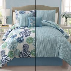 Victoria Classics Cameron 5-Piece Reversible King Comforter Set in Blue - Beyond the Rack