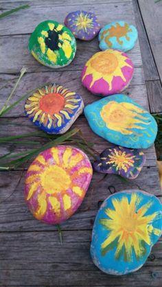 Kids summer solstice activities. Rock painting!