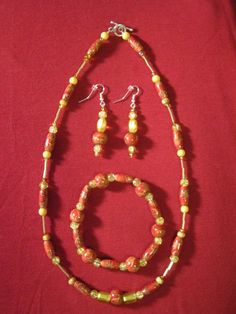Red Gold and Yellow Wood and Glass Bead by BeadazzlingButterfly