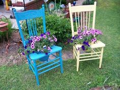 Chair planters - JUNKMARKET Style  Anybody have an old chairs they'd like to part with???  :)