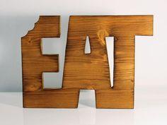 "Topfuntersetzer ""Eat"" - Echtholz mit Maserung"