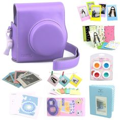 CAIUL 9 in 1 Fujifilm Instax Mini 8 Accessories Bundle(Purple 2nd Generation Mini 8 Case/Mini Album/selfie Lens/4 colors Close-Up Lens/3 inch Frame/Wall Hang Frame/Film & Camera Sticker/Film Pouch)