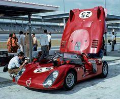 The Alfa Romeo T33/2 of Mario Calabattisti and Eduardo Dibos-Chappuis at the 1969 24-Hours of Daytona.