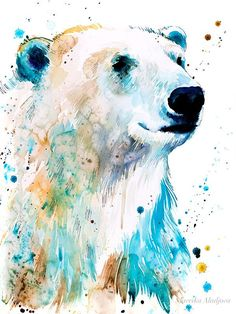 Polar bear watercolor painting print by Slaveika Aladjova, art, animal, illustration, home de… - Art ideas Bear Paintings, Painting Prints, Original Paintings, Bear Watercolor, Watercolor Animals, Watercolor Painting Techniques, Watercolor Paintings, Watercolours, Animal Drawings