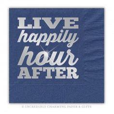 Happily Hour Silver Foil Beverage Napkins