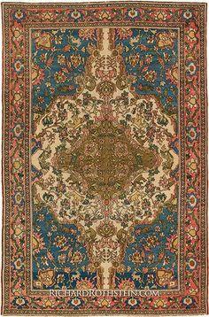 "Antique Malayer Oriental Rug Size: 4' 3"" x 6' 6"""