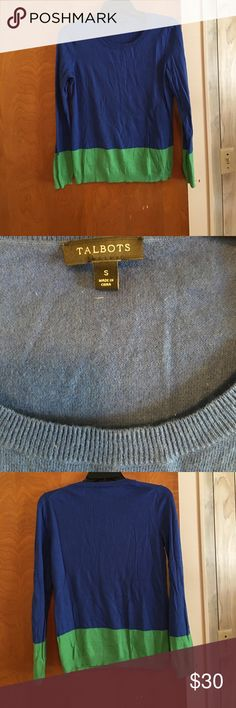 Beautiful blue and green color block sweater!! Like new Talbots's color block sweater!!! Only worn twice!! No signs of wear!! Talbots Sweaters Crew & Scoop Necks