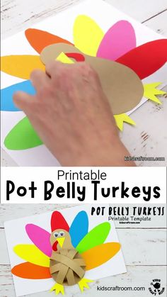 How fun is this Pot Belly Paper Turkey craft! Such a cute and simple 3D Thanksgiving craft for kids. Easy to make with the printable turkey craft template. #kidscraftroom #papercrafts #turkeycrafts #thanksgiving #thanksgivingcrafts #kidscrafts #turkeys #printables Thanksgiving Crafts For Kids, Holiday Crafts, Craft Activities, Preschool Crafts, Fall Projects, Projects To Try, Hobbies And Crafts, Arts And Crafts, Diy Paper