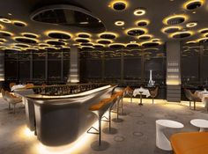 Iluminação com toque futurista  RESTAURANTE EM PARIS   Ciel de Paris  Arquitetura e Design: Noé Duchaufour-Lawrance * Lighting Designer: L'Observatoire International