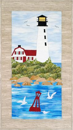 Harbor Light Wallhanging Pattern by Sweet Season Quilts - 791154349717 Quilting Projects, Quilting Designs, Quilt Design, Sewing Projects, Beach Quilt, Ocean Quilt, Landscape Art Quilts, Landscapes, Nautical Quilt