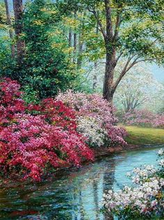 This piece depicts a serene incandescent stream flanked by luxuriant flourishing azaela bushes. Watercolor Landscape, Landscape Art, Landscape Paintings, Watercolor Paintings, Beautiful Paintings, Beautiful Landscapes, Bob Ross Paintings, Spring Painting, Pictures To Paint