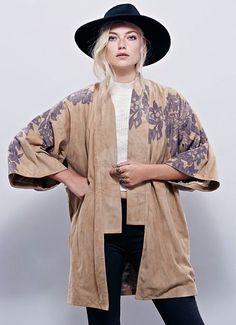NWT Free People NR tan suede gray floral print open Kyoto Kimono Coat L $850 #FPNewRomantics #kimonojacket