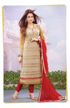 Beige Net Churidar Kameez-1013  Now, place your Order now : Email:- raksha@silk-india.com