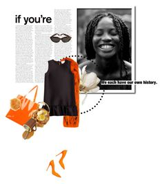 """""""bond"""" by la-rosy ❤ liked on Polyvore featuring MSGM, Casadei, Yves Saint Laurent, Charlotte Russe, outfit, black and orange"""