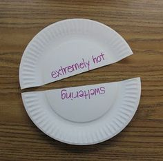 Vocabulary game idea. Easily adaptable for one child - just stick one set of halves around the room and the child works through the other set, one at a time, finding its matching pair. Could make it timed challenge.