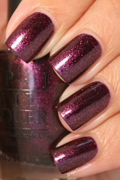 "Chatters Me Up is an exclusive OPI polish specifically made for the salon chain ""Chatters"" in Canada. It's a deep purple loaded with tons of purple and gold shimmer particles & had a slight gold duochrome when turning hands this and that way. VHTF but so worth it if you do."