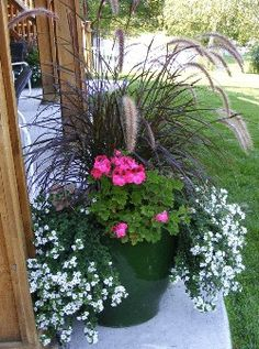 """Pot-Scaping"" ...3 ingredient planter - purple fountain grass, bacopa, and geraniums. Other beautiful pairings of flowers for making some beautiful containers for bold bright colors in your yard / garden."