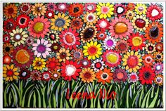 Mosaics picture of a summer field made by Leena Nio in Paris.
