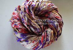 Sari Silk, Grape Berry Confetti, Fair Trade, 5 Yards, OOAK Silk Canvas Series, Textile, Yarn, Ribbon, Silk Ribbon, Artwear Elements 141
