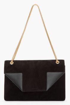 SAINT LAURENT Black Suede Betty Shoulder Bag