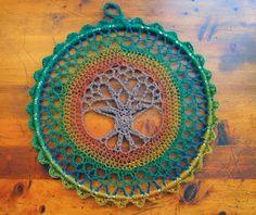 ergahandmade: Crochet Tree of Life Mandala + Free Pattern Step By Step + Video Tutorial Lion Brand, Just Love, Crochet Tree, Crochet Skull, Crochet Doilies, Crochet Baby, Free Crochet, Figure Reference, Easy Crochet Patterns