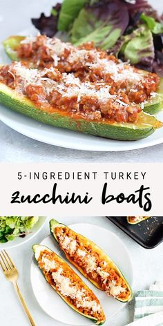 Healthy turkey zucchini boats that consist of 5 ingredients! This dinner is comforting and so simple to make. You will love these Italian-style turkey stuffed zucchinis! Low-carb, paleo-friendly and gluten-free.  #lowcarb #paleo #glutenfree #zucchini #zucchiniboats